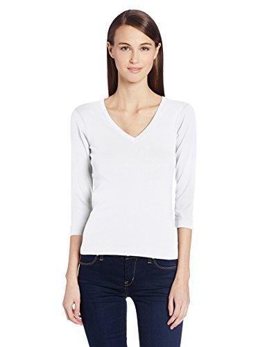 (Three Dots Women's Deep V Neck 3/4 Sleeve Tee, White, X-Large)