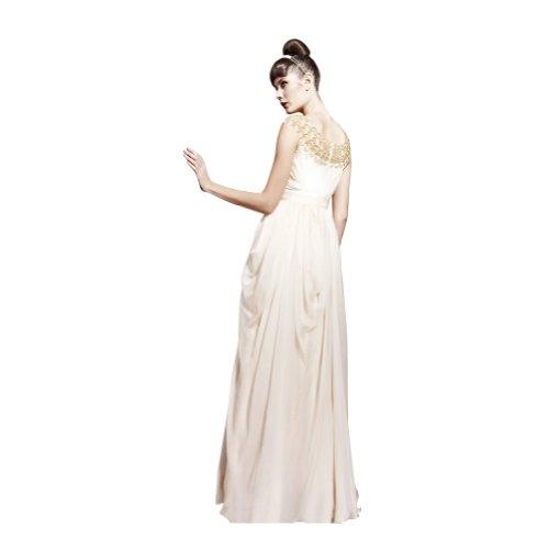Chiffon Schulterfrei GEORGE Spalte Abendkleid BRIDE Weiß Stickerei Bodenlang Mantel Champagne TqS0B
