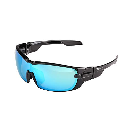 Moofee Polarized Sports Sunglasses with Rotatable Legs and 3 interchangeable Lenses Outdoor Glasses for Men Women TR90 Unbreakable UV Protection Running Driving Fishing Cycling Glasses (Black-Blue)