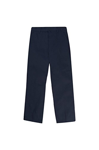 French Toast Little Boys' Flat Front Double Knee Pant with Adjustable Waist, Navy, 7 by French Toast
