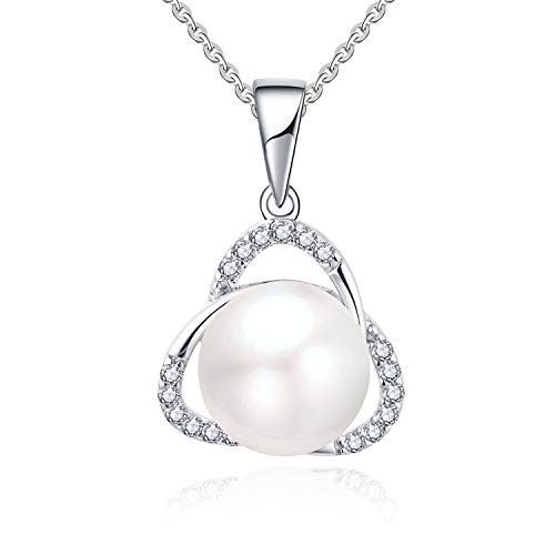 YL Women's Trinity Knot Pearl Necklace with Sterling Silver Handpicked AAA+ Round Simulated Pearl Pendant for Girls