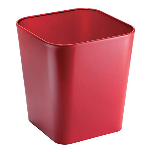 - mDesign Decorative Metal Square Small Trash Can Wastebasket, Garbage Container Bin - for Bathrooms, Powder Rooms, Kitchens, Home Offices - Red