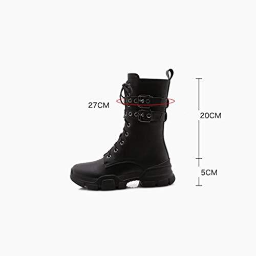Informales Yan Plataforma Fondo Británicos Negro Para Zapatos Locomotora De Botas Plano Ante Desert Primavera Martin Hebilla Con Cordones Otoño Botines Mujer vravCqPzw