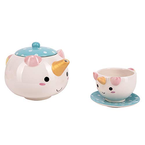 SMOKO Elodie Unicorn Tea Set with Teapot, Cup & Saucer, Decorative Kawaii Novelty Drinkware Item