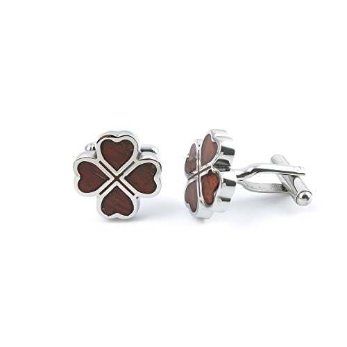 1 Pair Cufflinks Cuff Links ONDR0 Brown Four-leaf Clover Fashion Jewelry Gift Wedding Party Shirt Mens Button (Brown Crystal Cufflinks)