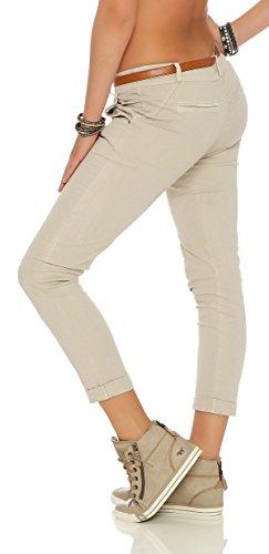 ZARMEXX estiran los pantalones flacos con la correa Chino-pantalones flacos de Jeggings de muchos colores Beige
