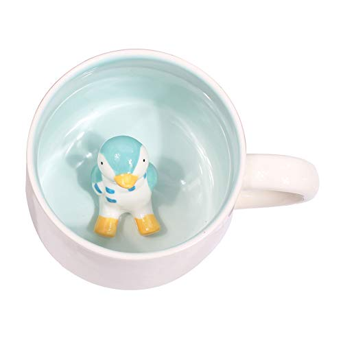 (3D Cute Cartoon Miniature Animal Figurine Ceramics Coffee Cup - Baby Animal Inside, Best Office Cup & Birthday Gift (Penguin))