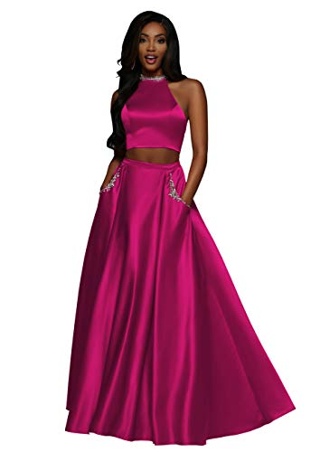 Now & Forever Bridal Boutique Women's Two Piece High Neck Party Dresses Long Formal Evening Gown with Pockets (Hot Pink,2)