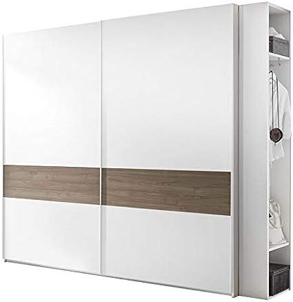 Tousmesmobili - Armario de 2 puertas correderas, color blanco y nogal oscuro – Anice nº 4 – 275 x 64 x 248: Amazon.es: Hogar