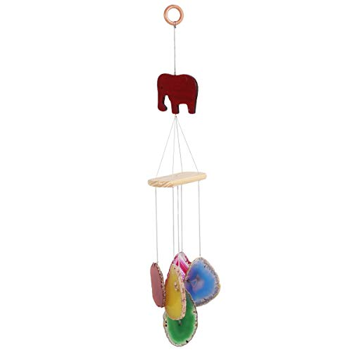 favoramulet 5 Agate Stick Bar Wind Chime, Elephant Wooden Crystal Windchime for Home Decoration Outdoor and Indoor Ornament 13