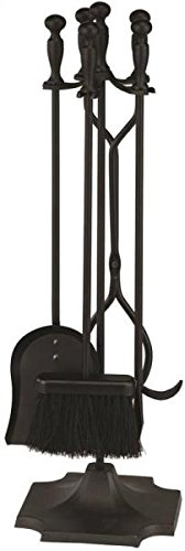 "Rocky Mountain Goods Fireplace Tool Set 31"" - Shovel, brush, poker, tongs, stand - Heavy duty wrought iron tools with decorative finish - Ergonomic Ball handles (Black) ()"