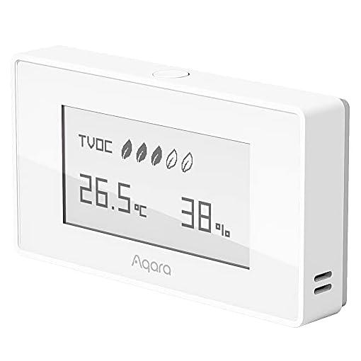 AQARA Luftqualitätssensor TVOC, Luftqualitätsmonitor, Luftqualitätsmesser, Temperatur- und Feuchtigkeitsmessung, Europäischer Standard, Zigbee 3.0 Smart Home HomeKit weiß
