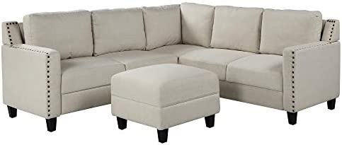 3 Piece Sectional Sofa, L-Shaped Sofa Couch, Living Room Rivet Modern Upholstered Set with Ottoman and Cushions, Beige