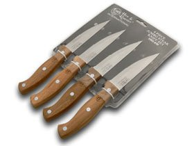 Hen and Rooster International 4 Piece Wooden Jumbo Steak Knife Knives Set