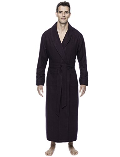 Men's Premium Flannel Long Robe - Herringbone Fig/Black - Small/Medium ()
