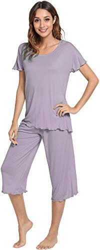 WiWi Pajama Set for Women Short Sleeve Top & Capri Pants Sleepwear Comfy Loungewear S-XXXXL(4XL), Violet, X-Large