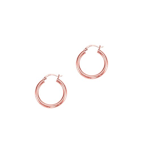 14k Pink-rose Gold 3x25mm Diamond Cut Round Hoop Earring Hinged Clasp