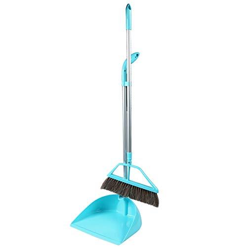 YJFENG Long Handle Blue Rotary Broom Head Broom Sets Pig Hair Bristles Indoor Cleaning Antistatic (Size : 93x28cm)