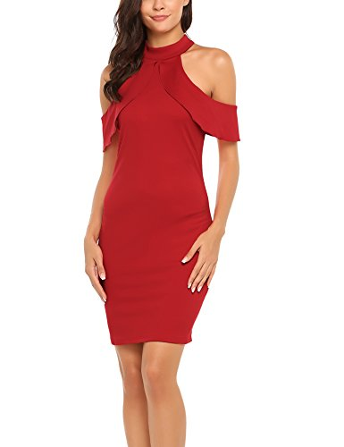 Ruffle Halter Cocktail Dress (Zeagoo Women's Cut Out Off Shoulder Ruffle Sleeve Bodycon Pencil Dress,Red,M)