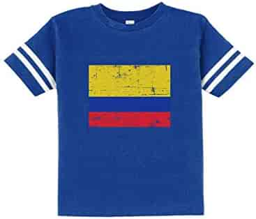 1218381a744 TeeStars - Colombia Flag Vintage Style Retro Colombian Toddler Jersey T- Shirt