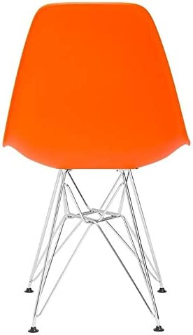 Orange Basic Plastic Dining Chair Eames Style Side Chair with Chrome Legs Eiffel Dining Room Chair