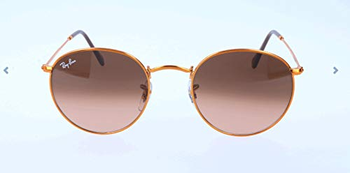 Ray-Ban RB3447 Round Metal Sunglasses, Shiny Light Bronze/Pink Gradient Brown, 50 ()