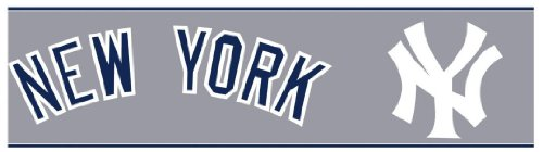 Yankees Border New York (York Wallcoverings ZB3312BD New York Yankees Prepasted Border, Nautical Navy/White)