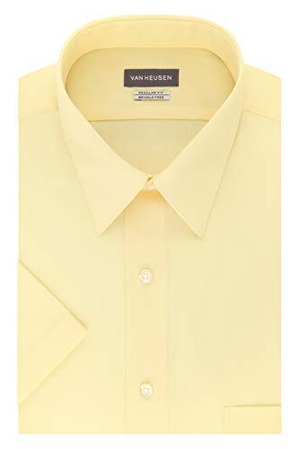 Van Heusen Men's Dress Shirts Short Sleeve Poplin Solid, Lemon Glaze/Yellow, 18.5