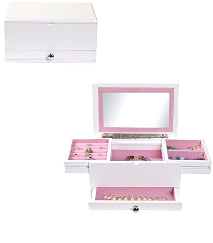 Uniware Elegant Jewelry Box with 2 Drawer and Up-right Mirror, White by UNIWARE
