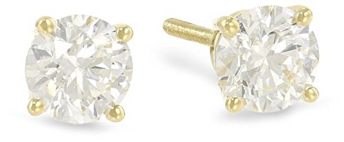 Round Cut Diamond Yellow (1 Carat Solitaire Diamond Stud Earrings 14K Yellow Gold Round Brilliant Shape 4 Prong Screw Back (J-K Color, VS2-SI1 Clarity))