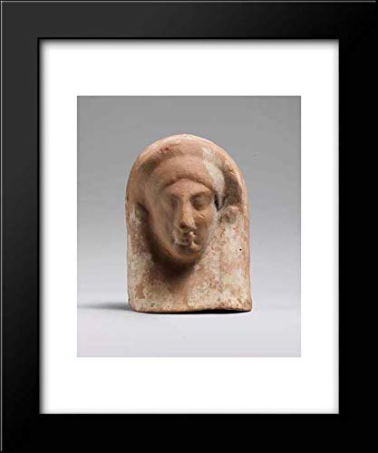 (East Greek Culture - 15x18 Framed Museum Art Print- Terracotta Relief with Head of a Woman)
