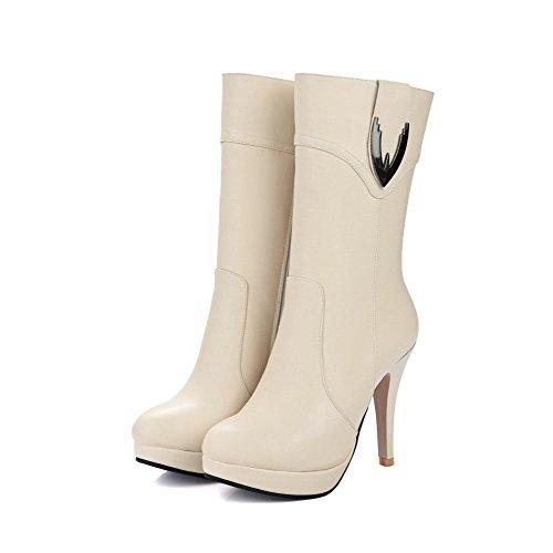 VogueZone009 Damen Plattform Cremefarben Stiefel Stiletto Rund Wasserdicht Zehe Reißverschluss qT6vw14qx