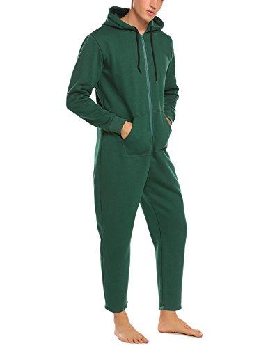 Cheap Jumpsuits For Men (Ekouaer Mens Onesie Pajamas Adult Hooded Non Footed Jumpsuit pjs Sleepwear (Dark Green, M))