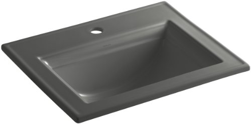 KOHLER K-2337-1-58 Memoirs Self-Rimming Bathroom Sink with Stately Design and Single-Hole Faucet Drilling, Thunder Grey