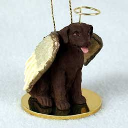 Chocolate Labrador Retriever Tiny One Dog Angel Christmas Ornament (Ceramic Insert 3')