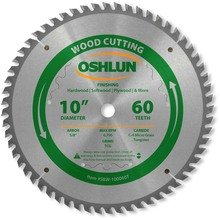 Teeth 5/8 60 Arbor (Oshlun SBW-100060T 10-Inch 60 Tooth Multi-Purpose TCG Saw Blade with 5/8-Inch Arbor)
