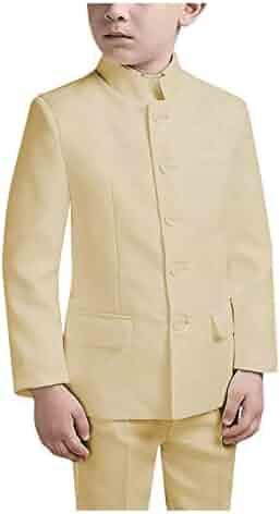 HBDesign Boys 3 Piece 2 Button Notch Lapel Slim Trim Fit Casual Suite Beige