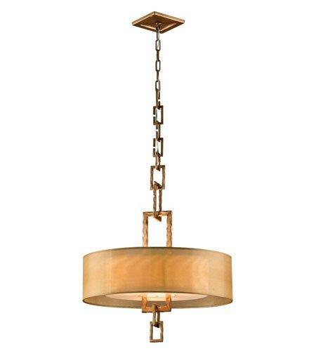 (Pendants 3 Light With Bronze Leaf Finish Hand-Forged Iron Material Medium 31 inch Long 180 Watts)