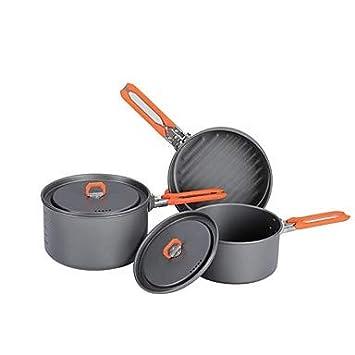LOO LA Olla con batea para Camping Sets de Cocina 3 Juegos ...