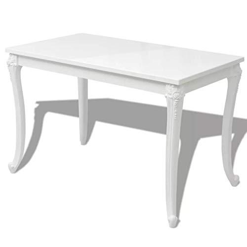 "Festnight High Gloss Dining Table Rectangular Breakfast Table for Home Dining Room Kitchen Furniture Decor White 45.7""x 26""x 30"""