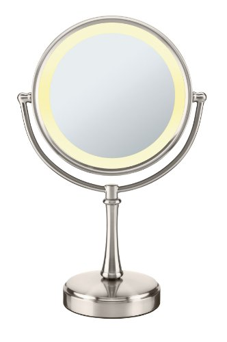 Conair 3-Way Touch Control Double-Sided Lighted Makeup Mirror - Lighted Vanity Makeup Mirror; 1x/8x magnification; Satin Nickel Finish