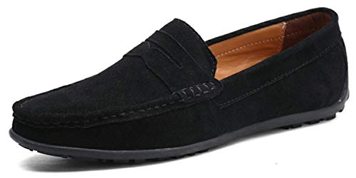 Go Tour Mens Driving Penny Loafers Suede Moccasins Slip On Casual Dress Boat Shoes Black ()