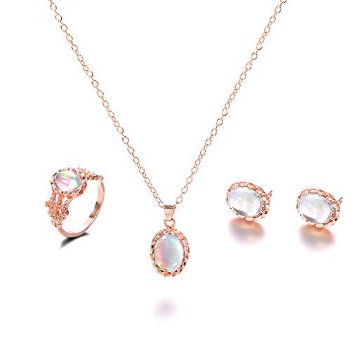 Dolland Gemstone Jewellery Set Oval Gemstone Earrings Necklace Ring Set Vintage Jewelry Birthstone Pendant - Oval Earring And Necklace Set