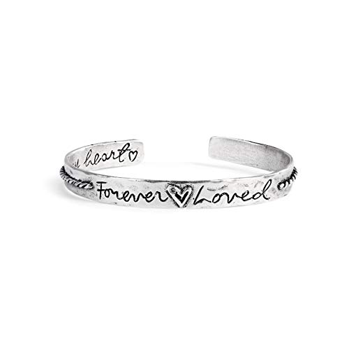 (DEMDACO Loving Memories Forever Loved Silver Tone 3 inch Tin Metal Band Bracelet)