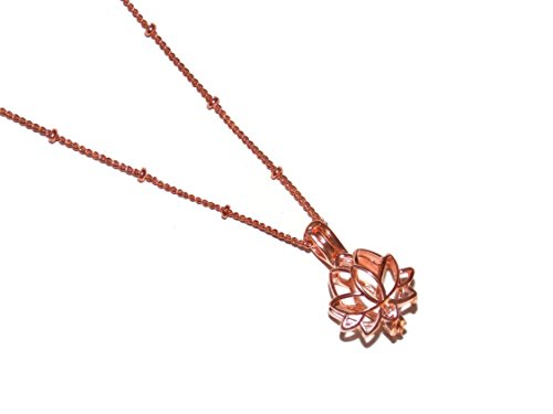 Old School Geekery Rose Gold Color Lotus Blossom Flower Pearl Cage Pendant Necklace Kit TM Brand Jewelry Making Supplies -