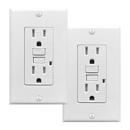 - PROCURU 2 Pack - 15A Tamper Resistant GFCI Receptacle Outlet with LED Indicator with Wall Plate and Screws, White - UL Listed (2-Pack)