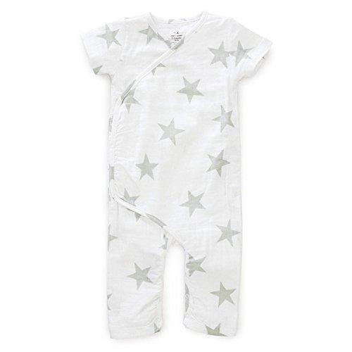 aden + anais Baby Boys' Kimono One Piece 246ss, Medium Silver Star, 3-6 Months