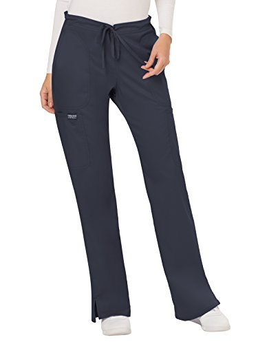 (WW Revolution by Cherokee Women's Mid Rise Moderate Flare Drawstring Pant Petite, Pewter, X-Large Petite)