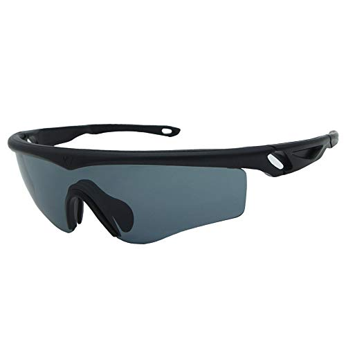 JEFF Condor Tactical Sunglasses with Smoke Grey Lens, Clear Extra Lens, Matte Black Frame and Anti-Scratch, Anti-Reflect Lenses, UV400 Protection, ANSI Z87.1 & MIL-PRF-31013 Certified ()