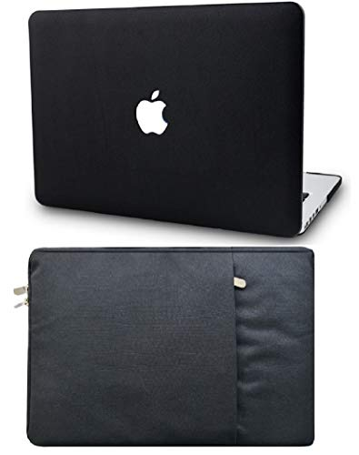 """KECC Laptop Case for MacBook Air 13"""" Retina (2020/2019/2018, Touch ID) with Sleeve Italian Leather Case A2179/A1932 2 in 1 Bundle (Black Leather)"""